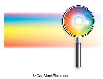 arcobaleno, sotto, lente ingrandimento