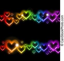 arcobaleno, sparkles., vettore, bordo, cuore
