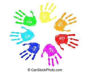 arcobaleno, stampe, mano