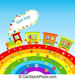 arcobaleno, treno, testo, illustrazione, cartone animato, posto, tuo