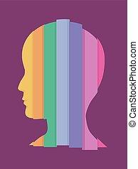 arcobaleno, zebrato, illustrazione, uomo