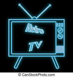 ardendo, 70s, tubo, bello, astratto, vettore, luminoso, vecchio, iscrizione, retro, 80s, kinescope, spazio, nero, 90s, cartello, fondo., copia, icona, tv, neon