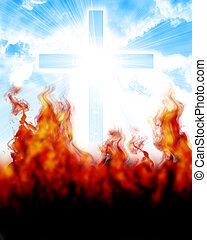 ardendo, cielo, croce