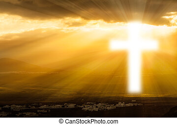 ardendo, cielo, religioso, croce