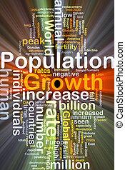 ardendo, concetto, crescita, fondo, popolazione