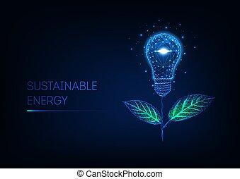 ardendo, energia, verde, poly, fatto, concept., lampadina fiore, basso, leaves., luce, futuristico, sostenibile