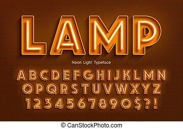 ardendo, extra, 3d, alfabeto, font., luce neon
