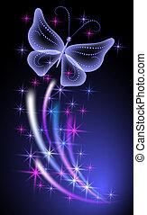 ardendo, fondo, farfalle