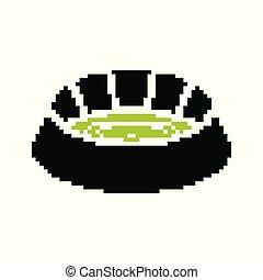 arena, bit., costruzione, football, simbolo., illustrazione, sport, vettore, stadio, 8, pixel, art.