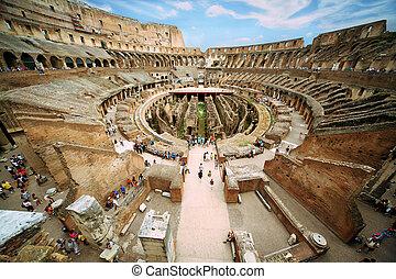 arena, blu, antico, italia, soleggiato, sotto, roma, nuvoloso, colosseo, entrare, cerchio, primo giorno, cielo