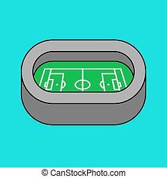 arena, costruzione, football, simbolo., illustrazione, sport, vettore, stadium.
