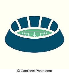arena, costruzione, segno., football, simbolo., illustrazione, sport, vettore, stadio, icon.