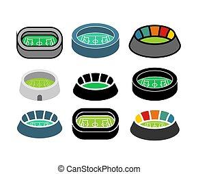 arena, costruzione, set., football, simbolo., illustrazione, sport, vettore, stadio, icon.