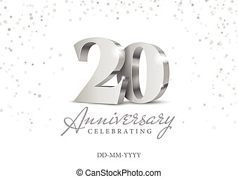 argento, 20., 3d, numbers., anniversario