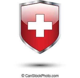 argento, scudo, croce rossa