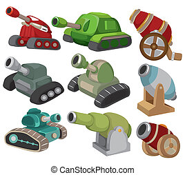 arma, set, tank/cannon, cartone animato, icona