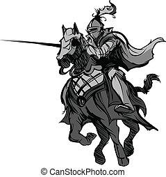 armeggiamento, mascotte, cavaliere, cavallo
