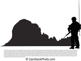 armi, militare, silhouette, montagna, fondo