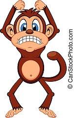 arrabbiato, scimmia, cartone animato