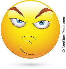 arrabbiato, smiley, atteggiamento, faccia