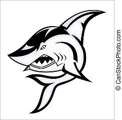 arrabbiato, vettore, squalo, mascotte