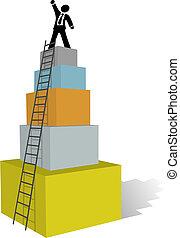 arrampicarsi, affari, scala, uomo, cima, successo