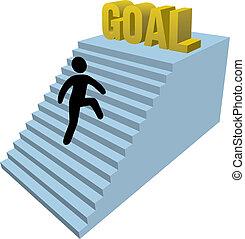 arrampicarsi, figura, persona, bastone, passi
