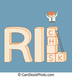 arrampicarsi, ricco, rischio, uomo affari