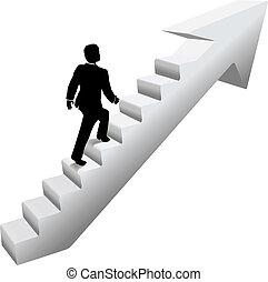 arrampicarsi, scale, affari, successo, uomo