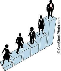 arrampicarsi, stare in piedi, grafico, persone affari