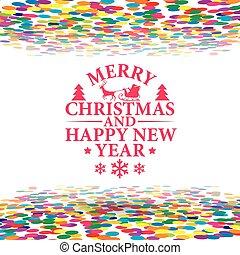 arricciamento, flusso, isolato, illustrazione, nerry, multicolor, vettore, anno, nuovo, natale bianco, fondo, felice