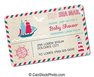 arrivo, cartolina, -, doccia, tema, vettore, mare, nautico, bambino, o