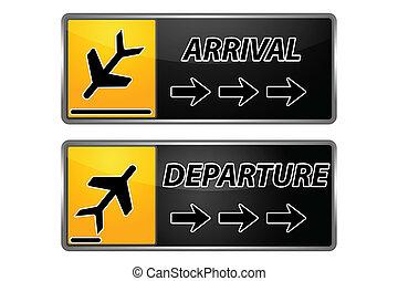 arrivo, partenza, etichette