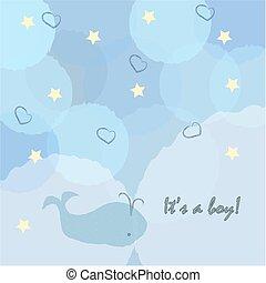 arrivo, ragazzo, announcement., card., carino, announces, boy., doccia, disegno, nascita, invito, bambino, balena, scheda