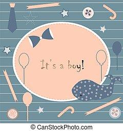 arrivo, ragazzo, announcement., card., carino, announces, doccia, nascita, invito, bambino, balena
