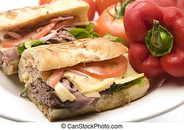 arrosto, panino, gourment, manzo