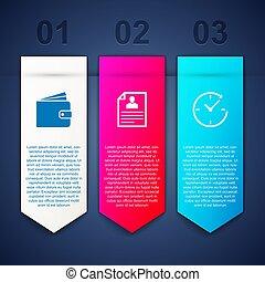 arrow., portafoglio, set, riprendere, affari, orologio, template., vettore, infographic
