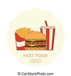 art fisso, illustration., cibo, digiuno, vettore, linea, design.