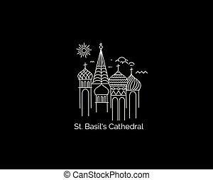 art fisso, illustrazione, mosca, vettore, rosso, cattedrale, russia., quadrato, linea, st, basil's