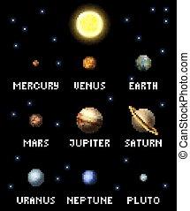 arte, 8, pianeti, pixel, pezzo, video, sistema solare, gioco