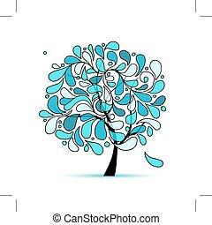 arte, albero, acqua, disegno, gocce, tuo