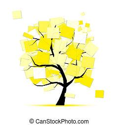 arte, albero, giallo, disegno, adesivi, tuo