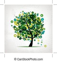 arte, albero, meno, disegno, segni, più, tuo
