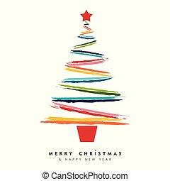 arte, albero, multicolor, anno, nuovo, scheda natale