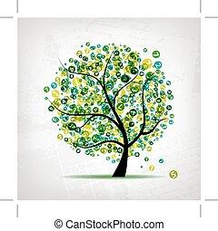 arte, albero, verde, figure, disegno, tuo