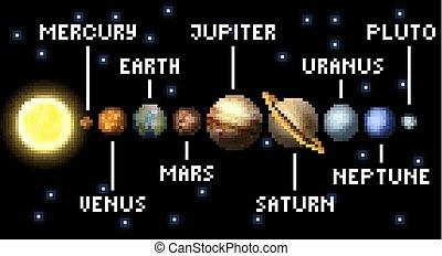 arte, arcata, sistema, gioco, video, solare, 8, pezzo, pixel