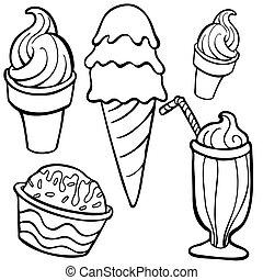 arte, cibo, articoli, ghiaccio, linea, crema