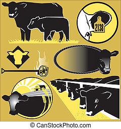 arte, clip, bestiame