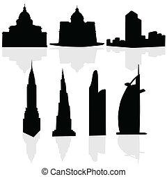 arte, costruzioni, vettore, nero, silhouette