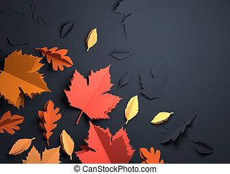 arte, foglie, -, autunno, carta, cadere